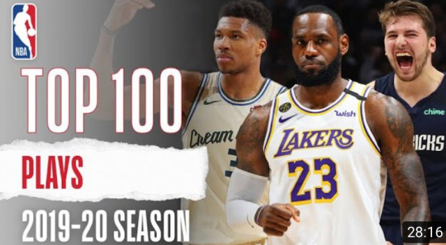 NBA Top 100 Plays from the 2019-2020 Season Posted