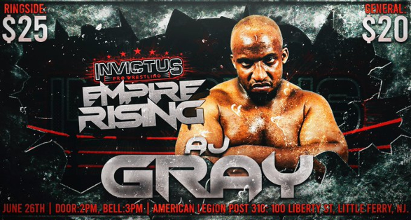 AJ Gray set for Invictus Pro Wrestling Debut | Tickets Available