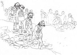 Fg 8: Danza rituale (attuale) legata al culto dei morti in una remota valle himalayana    (dis. Gianni Bassi da foto sulla rivista Airone)