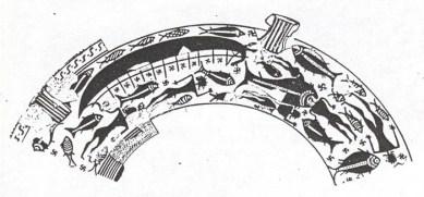 Fg 6:  scena di naufragio su vaso greco tardogeometrico