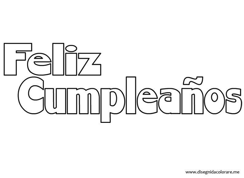 Buon Compleanno in spagnolo  Disegni da colorare