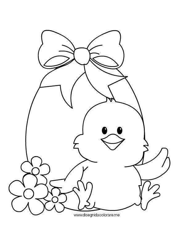 Uovo di Pasqua con pulcino da colorare