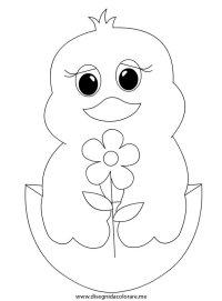 Pulcino con fiore   Disegni da colorare