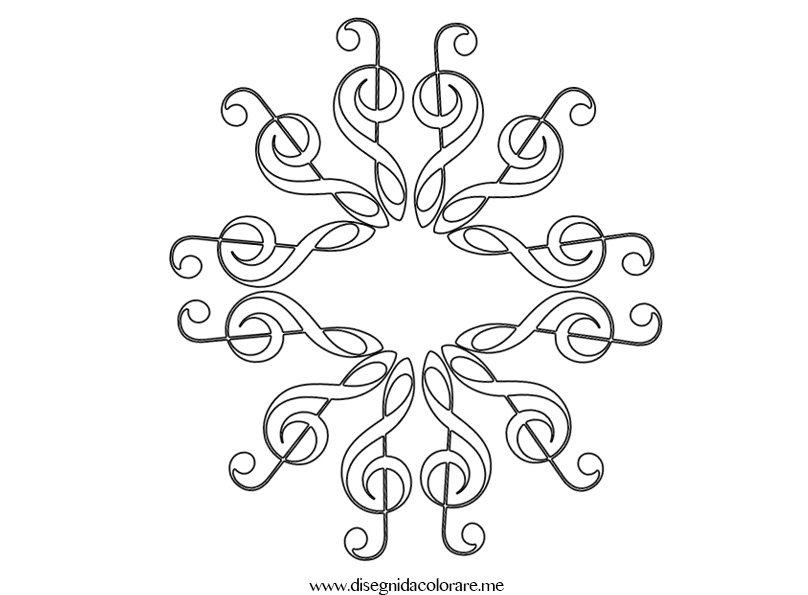 Fiocco neve con chiave di violino  Disegni da colorare