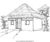 Disegno capanna_africa misti da colorare