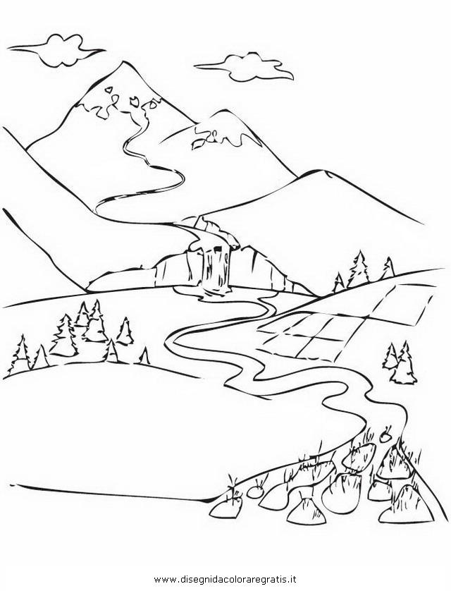Disegno paesaggio_fiume_delta misti da colorare