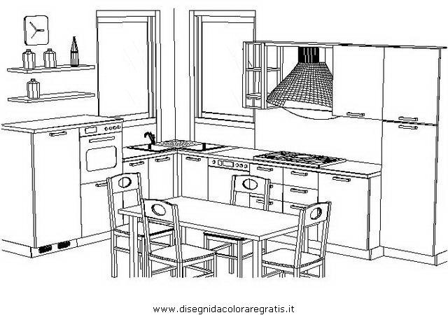 Disegno camera_cucina_prospettiva misti da colorare