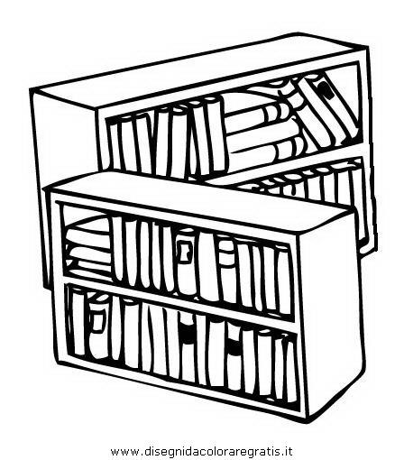 Disegno casa_libreria_biblioteca_2 misti da colorare