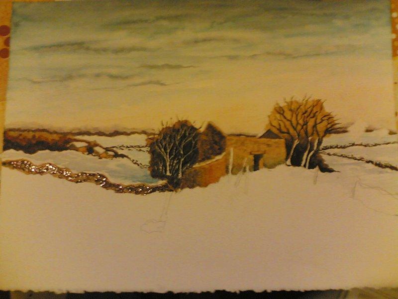 Paesaggio con neve  Disegno  Pittura