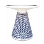 A068D Mushroom coffee table CRISTAL 7 MM FLAT WIKER SHELL BLUE 800X800
