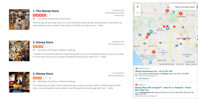 Yelp Disney Stores List and Map