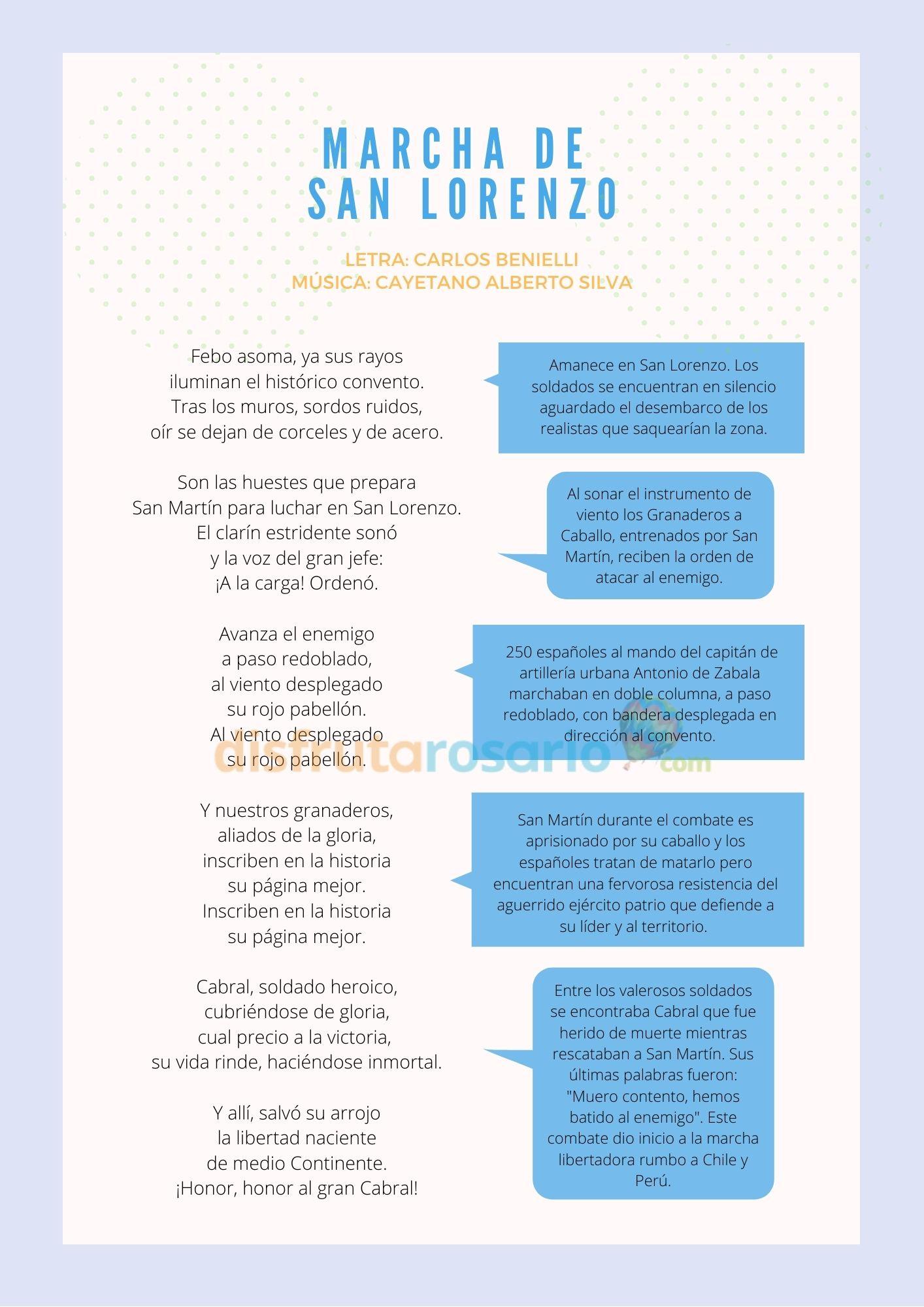 Marcha de San Lorenzo y el análisis de cada estrofa