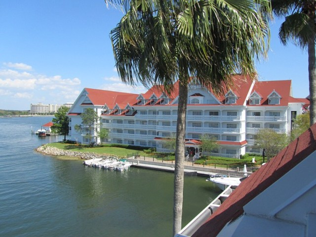 Grand Floridian with Bay Lake and the Contemporary Resort in the background