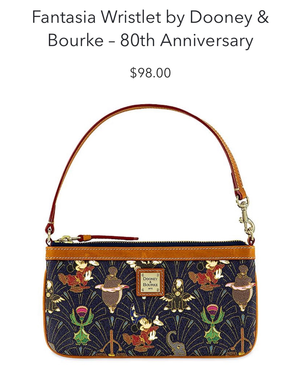 Disney Dooney & Bourke wristlet Fantasia 80th Anniversary