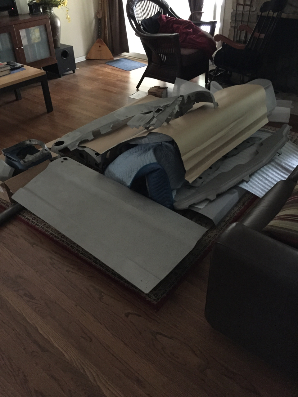 Blasted panels in living room