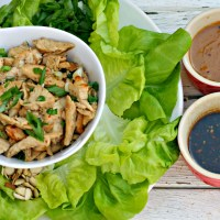 Asian Chicken Lettuce Wraps with Two Dipping Sauces