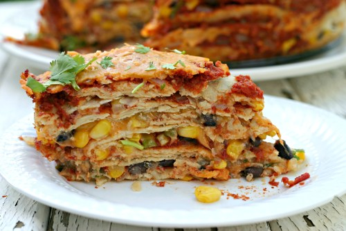 Black Bean Stacked Enchilada Pie