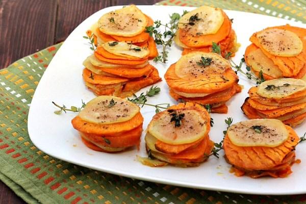 sweet and savory potato stacks