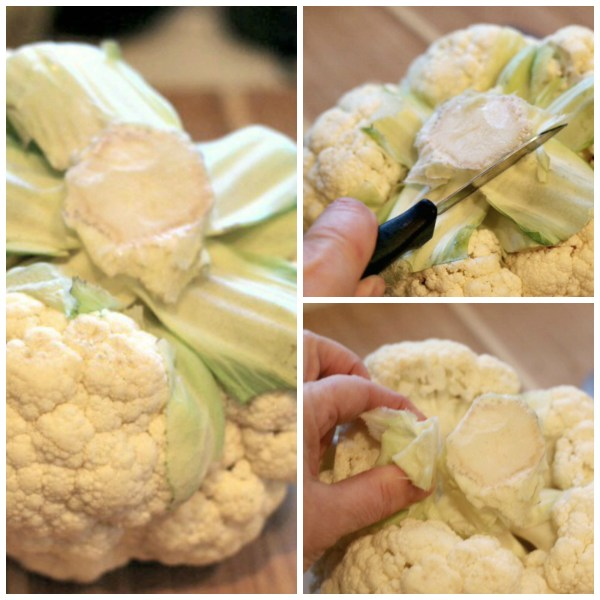 Cut cauliflower stem