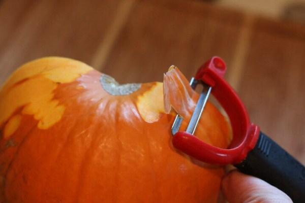 Peel sugar pumpkin