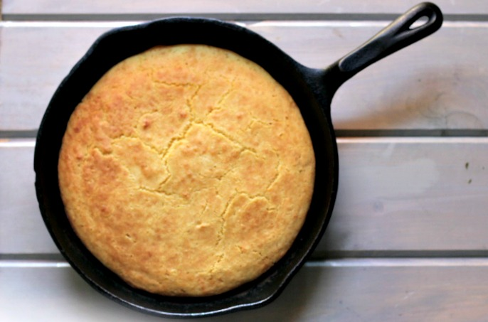 Cornbread made in iron skillet