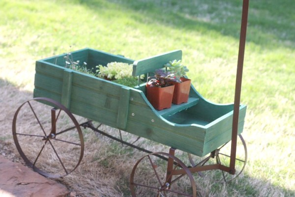 fairy garden in wagon