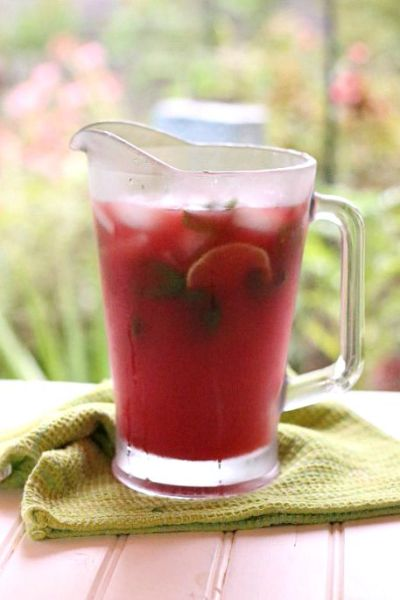 pitcher of watermelon jalapeno agua fresca