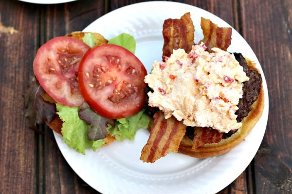 Pimento Cheese Bacon Burger recipe top shot
