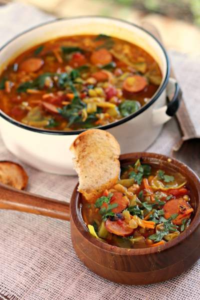 Kielbasa cabbage soup beans