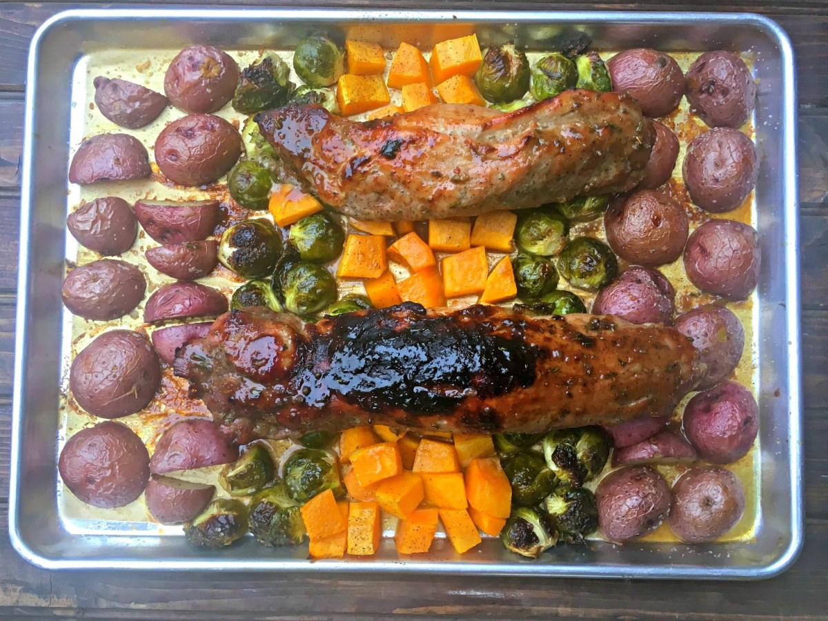 Roasted Pork Loin and Autumn Veggies Sheet Pan Supper