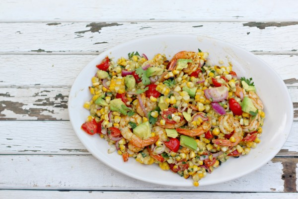 Grilled Shrimp Corn and Avocado Salad - Dishin & Dishes