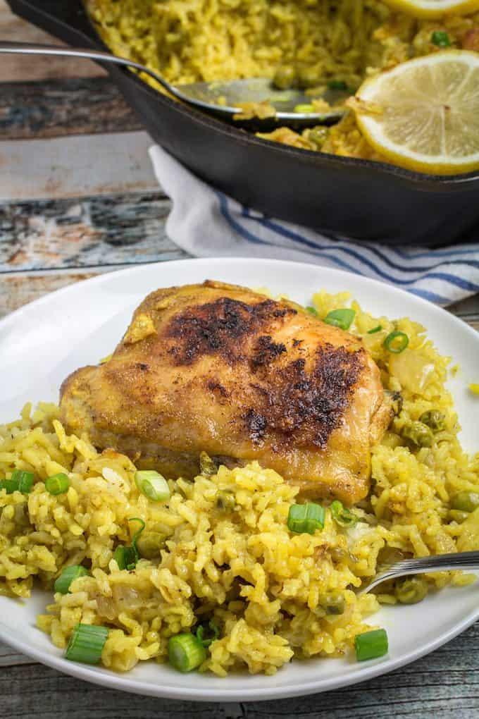 Lemon Garlic Chicken with Yellow Rice Recipe