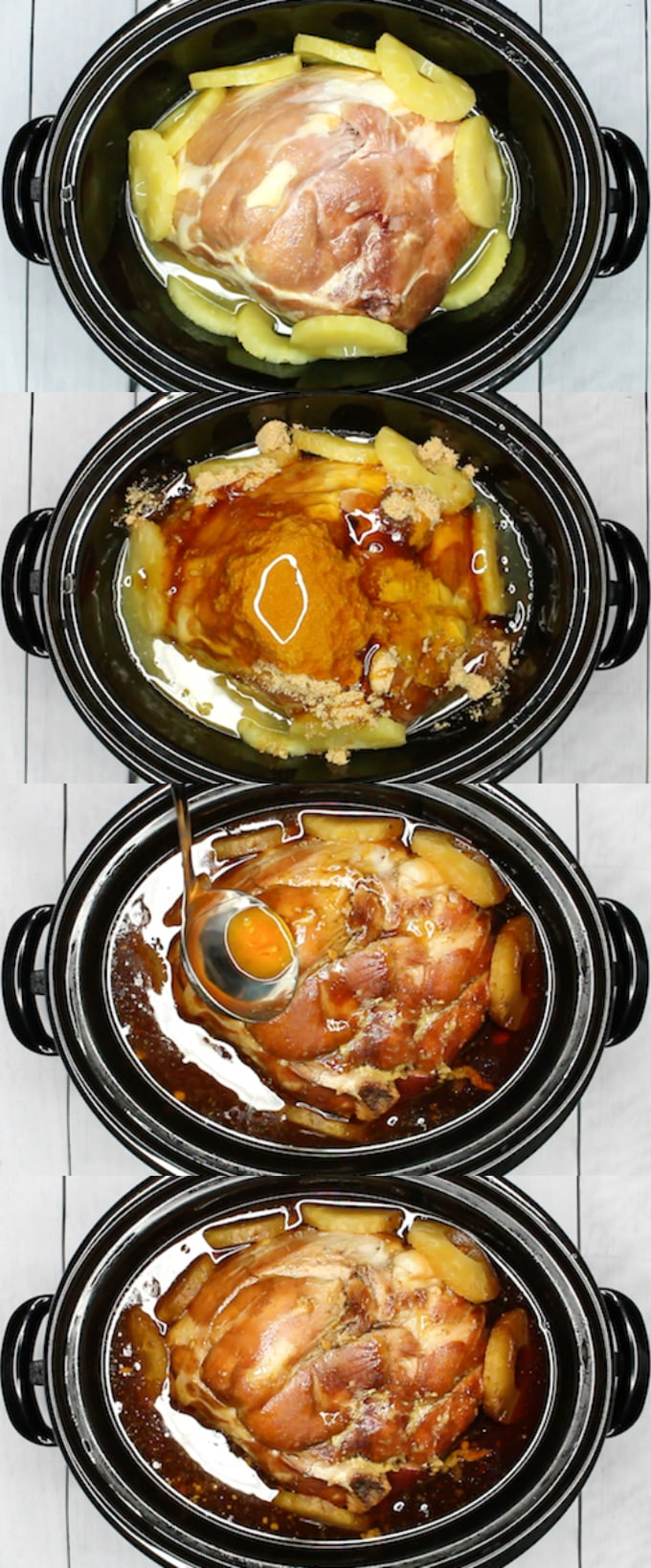 slow cooker ham pineapple glaze