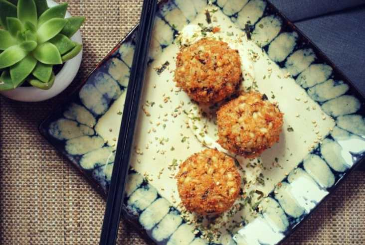 Vegan Barley Arancini with Shiitake Mushrooms & Seaweed