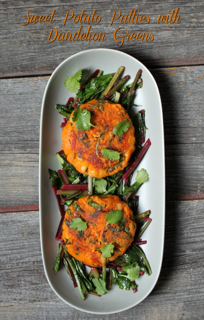 Sweet Potato Patties with Dandelion Greens #vegan #sweetpotatoes #dandelion #foraged