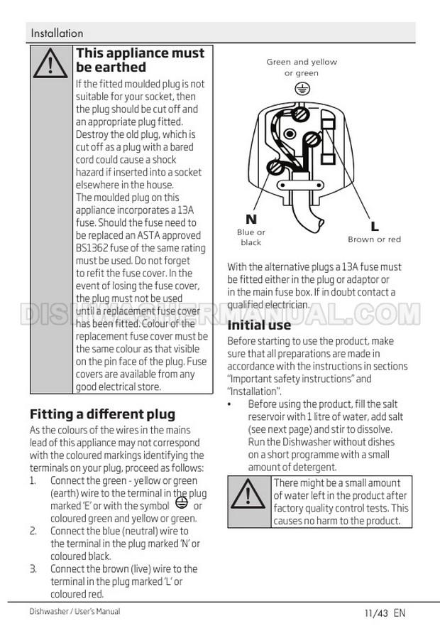 Beko DIN15Q10 Dishwashing Machine User's Manual