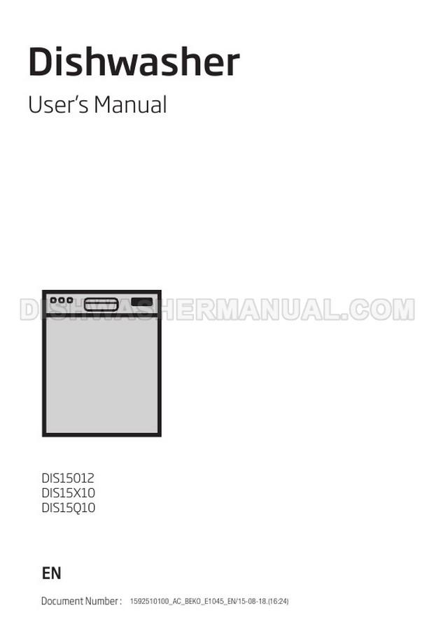 Beko DIS15Q10 Dishwasher User's Manual