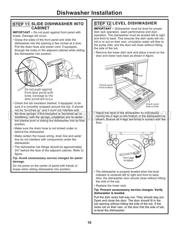 Hotpoint HDA3600KBB Dishwasher Installation Instructions