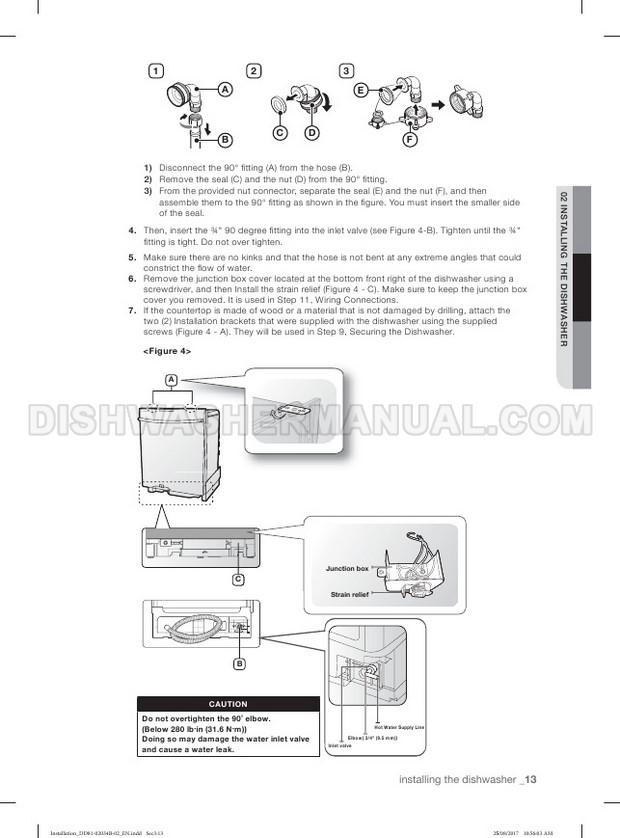 Samsung DW80R5061US StormWash Installation Guide