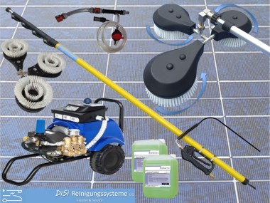 Photovoltaik-Solar-Reinigungsset-Teleskplanze-Waschbürste-Hochdruckreiniger-Entkalker-Injektor