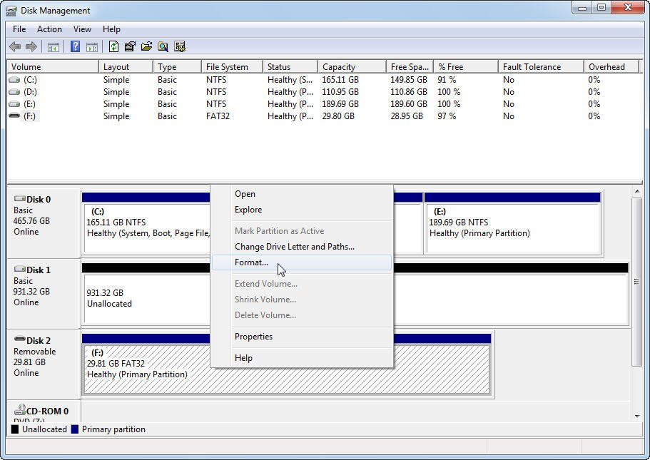 Disk Management Format USB