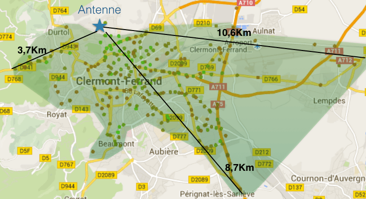 LoRa in Clermont-Ferrand coverage map with a single antenna