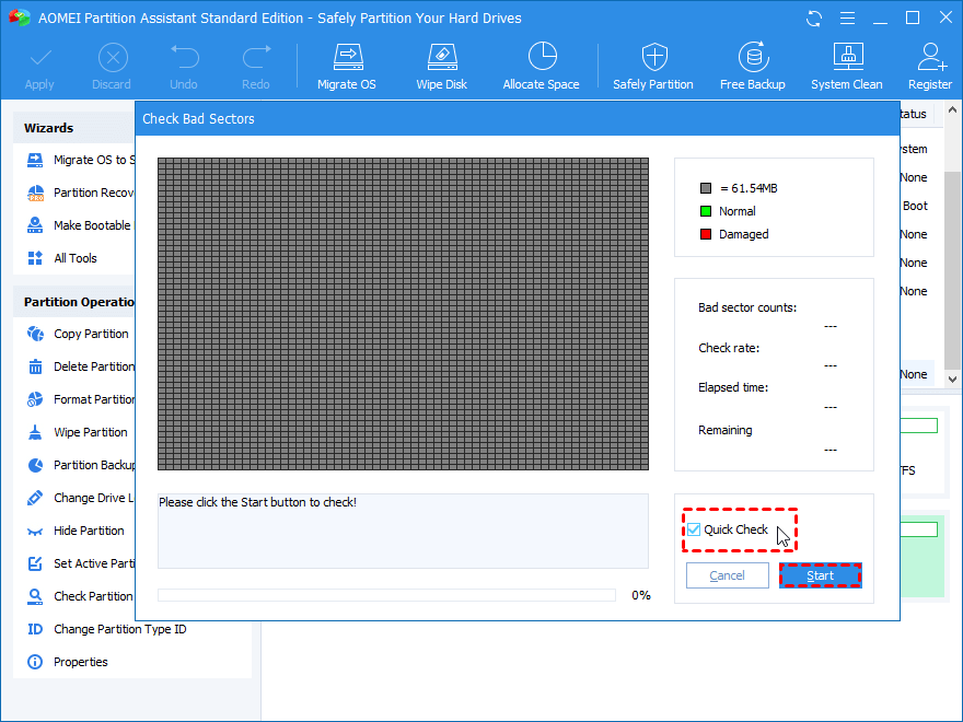 Start Check Raw Partition