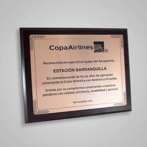 Placa Conmemorativa Copa Airlines
