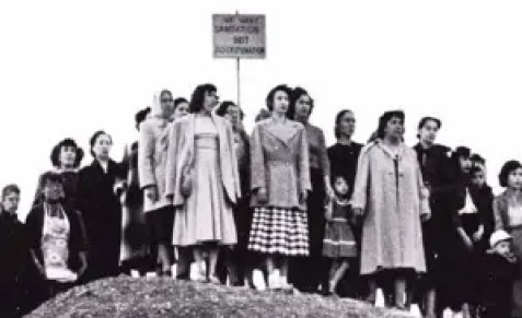 A group of women strikers on a hill. example of pro-union movies