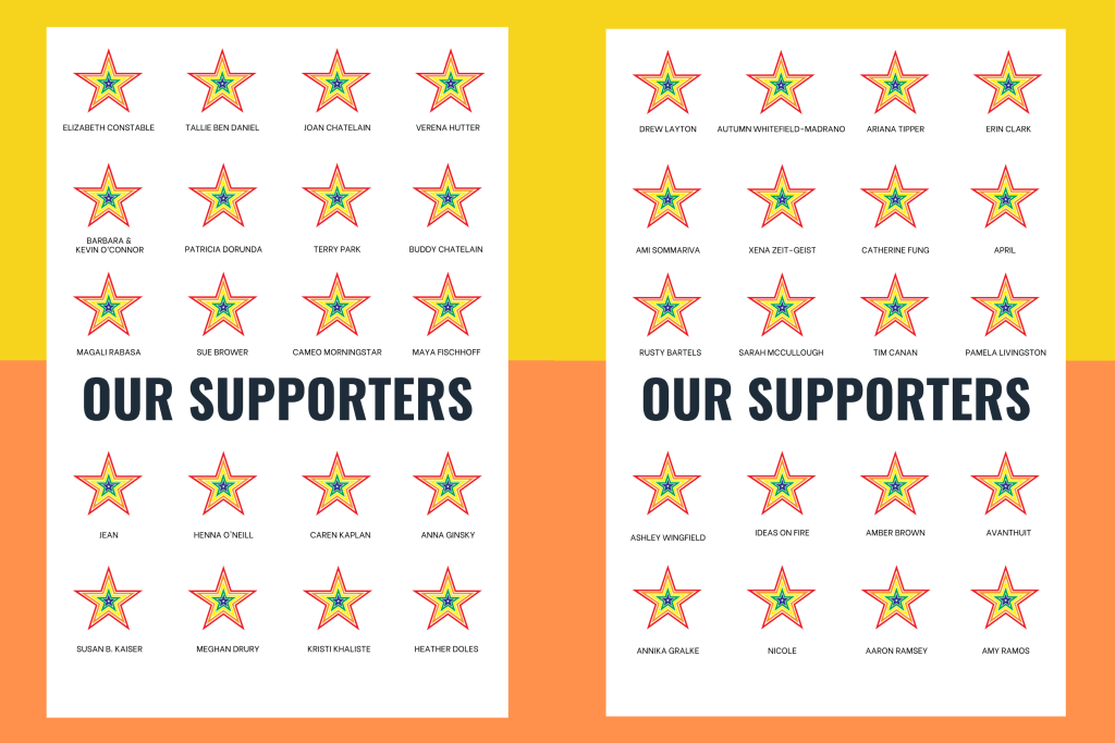 Support us. Names of our Supporters