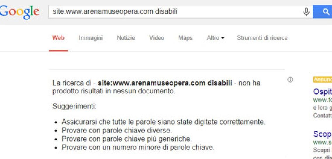 la ricerca google sul dominio amo non trova il termine disabili