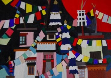 ladak india bandiere dipinto