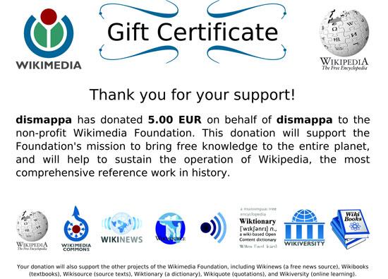wikipedia gift certificate dismappa verona