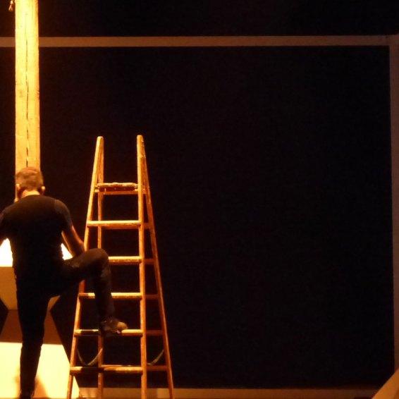 PROIEZIONE VERTICALE Laminarie primo avvicinamento a Constantin Brancusi di e con Febodel Zozzo | drammaturgia Bruna Gambarelli | cura F. Rocchi | assistenti di produzione N. Piccorossi, L. Martorana Lo spettacolo è uno svelare a poco a poco l'atelier di Brancusi. Proiezione verticale indaga, attraverso i linguaggi del teatro contemporaneo, una delle più famose opere dello scultore rumeno Constantin Brancusi, la Colonna senza fine, di cui l'artista realizzò diverse versioni. La performance Proiezione verticale rimanda all'atelier di Brancusi, dove l'artista solitario lavora la materia con calma e sicurezza. La pratica artistica è evocata attraverso una partitura silenziosa di azioni, gesti e immagini. All'inizio, l'atelier dell'artista è coperto da un velo e le azioni dell'attore sono quasi impercettibili. Lo spazio scenico è un parallelepipedo chiuso, dove l'attore lavora senza discussioni apparenti con sé stesso. Poi, l'attore scopre la scena tirando manualmente il telo e rivela uno spazio ben perimetrato, con i suoi confini bianchi e le superfici vuote.